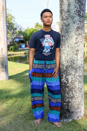Men BLUE Striped HAREM PANTS-Men Pants-Lannaclothesdesign Shop-Lannaclothesdesign Shop
