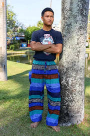 Men BLUE Striped HAREM PANTS-Men Pants-Lannaclothesdesign Shop-Small-Blue-Lannaclothesdesign Shop
