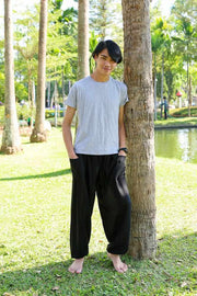 MEN BLACK HAREM PANTS-Men Pants-Lannaclothesdesign Shop-Small-Black-Lannaclothesdesign Shop