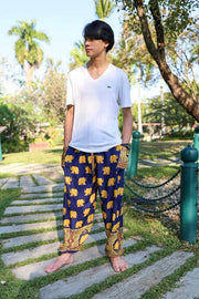 MENS LOUNGE BOHO PANTS-Men Pants-Lannaclothesdesign Shop-Small-Dark Blue-Lannaclothesdesign Shop