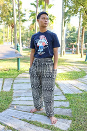 MEN Harem PANTS ELEPHANT PRINT-Men Pants-Lannaclothesdesign Shop-Small-Black-Lannaclothesdesign Shop