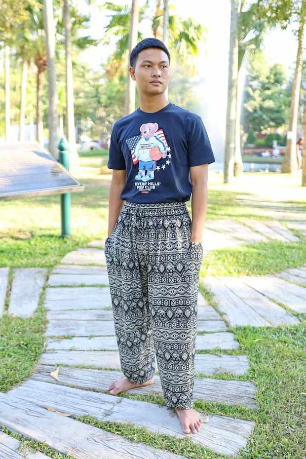 MEN Harem PANTS ELEPHANT PRINT-Men Pants-Lannaclothesdesign Shop-Lannaclothesdesign Shop