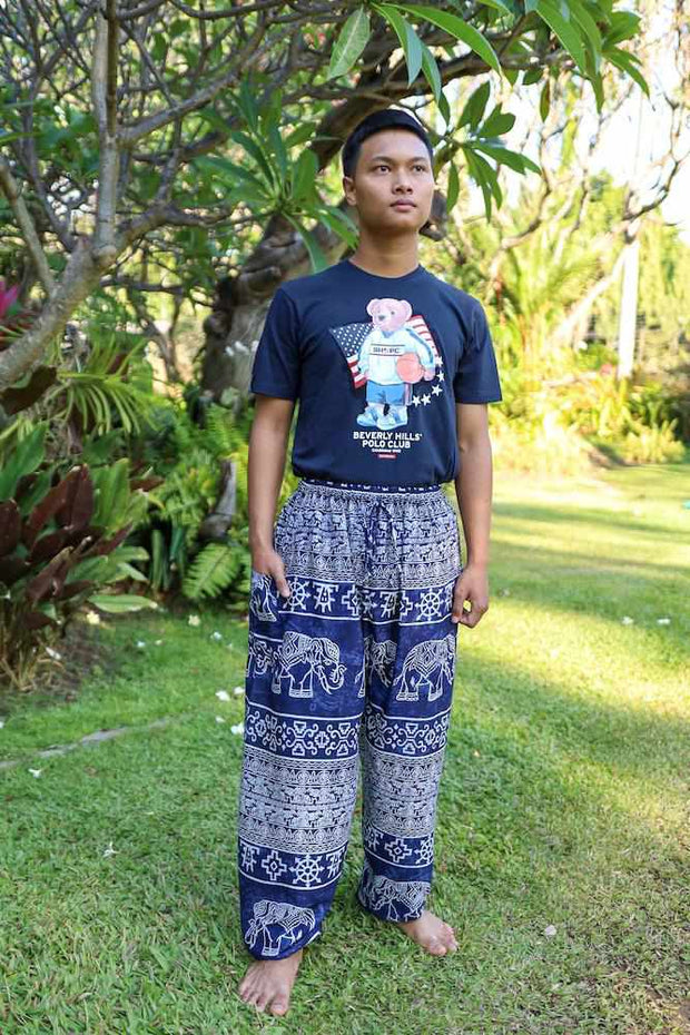 Elephant Printed HIPPIE PANTS MEN-Men Pants-Lannaclothesdesign Shop-Lannaclothesdesign Shop