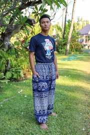 Elephant Printed HIPPIE PANTS MEN-Men Pants-Lannaclothesdesign Shop-Small-Dark Blue-Lannaclothesdesign Shop