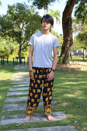 MENS LOUNGE BOHO PANTS-Men Pants-Lannaclothesdesign Shop-Small-Black-Lannaclothesdesign Shop