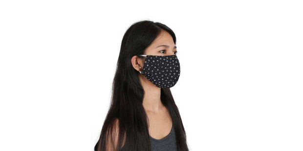 Adults ABC Pattern Black Mouth Mask Cotton Face Cover with Filter Pocket-Face Mask-Lannaclothesdesign Shop-Lannaclothesdesign Shop