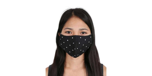 Adults Face Mask Heart Pattern Black Cotton Mouth Cover with Filter Pocket-Face Mask-Lannaclothesdesign Shop-Lannaclothesdesign Shop