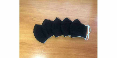 Adults Reusable Set of 5 Black Cotton Face Masks with Filter Pocket-Face Mask-Lannaclothesdesign Shop