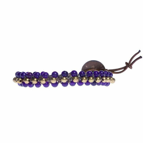 Amethyst Beads and Brass Bells Boho Bracelet-Bracelet-Lannaclothesdesign Shop