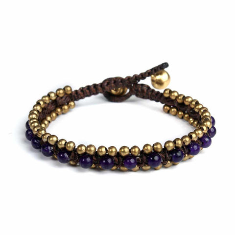Amethyst Beads and Brass Bells Boho Bracelet-Bracelet-Lannaclothesdesign Shop-Lannaclothesdesign Shop