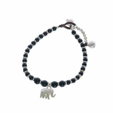 Black Beads and Silver Bells Bracelet-Bracelet-Lannaclothesdesign Shop-Lannaclothesdesign Shop