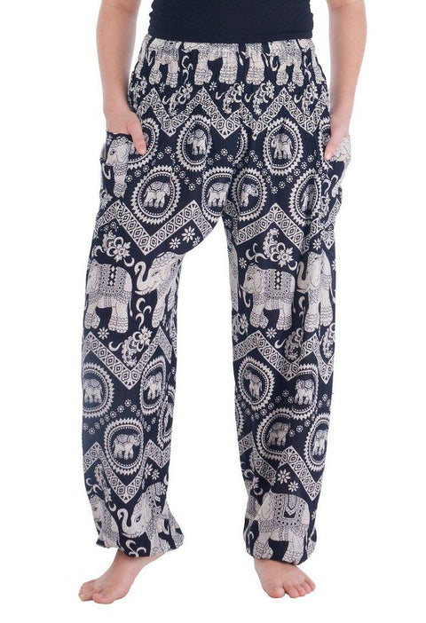 Black Elephant Harem Pants-Smocked-Lannaclothesdesign Shop-Small-Black-Lannaclothesdesign Shop