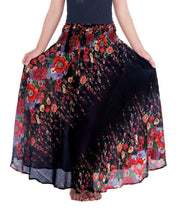 Black Flower Long Maxi Skirt-Rayon Skirt-Lannaclothesdesign Shop