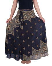 Black Peacock Flower Long Maxi Skirt-Rayon Skirt-Lannaclothesdesign Shop
