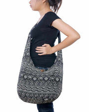Black Print Shoulder Bag-Bags-Lannaclothesdesign Shop-Lannaclothesdesign Shop