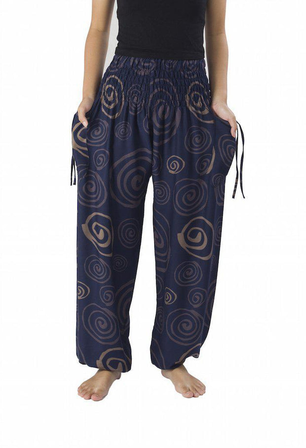 Boho Circle Harem Pants-Smocked-Lannaclothesdesign Shop-Lannaclothesdesign Shop