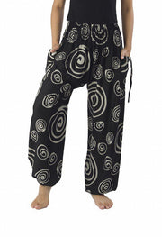 Boho Circle Harem Pants-Smocked-Lannaclothesdesign Shop-Small-Black-Lannaclothesdesign Shop