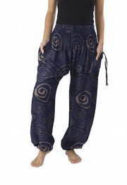 Boho Circle Harem Pants-Smocked-Lannaclothesdesign Shop-Small-Dark Blue-Lannaclothesdesign Shop