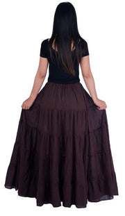 Brown Long Cotton Ruffle Maxi Skirt-Cotton Skirt-Lannaclothesdesign Shop