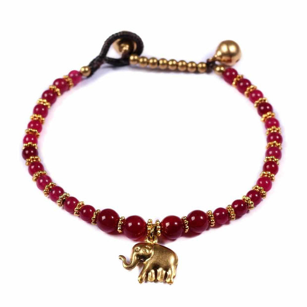 Burgundy Agate Beads and Brass Bells Bracelet-Bracelet-Lannaclothesdesign Shop-Lannaclothesdesign Shop