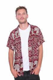 BURGUNDY Aloha Short Sleeve Shirt-Men Shirt-Lannaclothesdesign Shop-Small-Lannaclothesdesign Shop