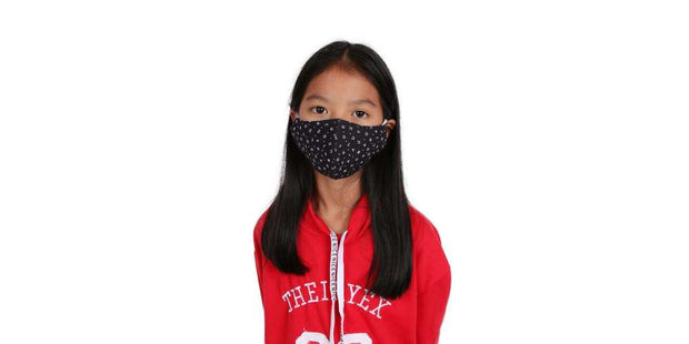 Children's Black ABC Reusable Face Mask Cotton Mouth Cover with Filter Pocket-Face Mask-Lannaclothesdesign Shop-Lannaclothesdesign Shop