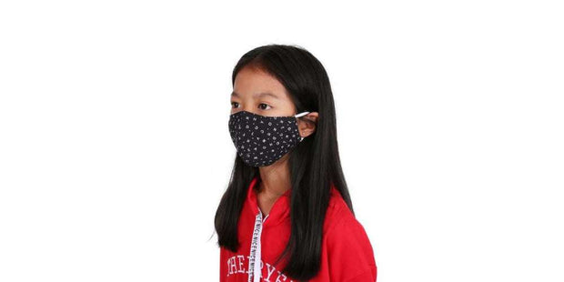 Children's Black ABC Reusable Face Mask Cotton Mouth Cover with Filter Pocket-Face Mask-Lannaclothesdesign Shop