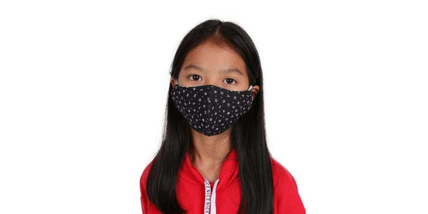 Children's Black ABC Reusable Face Mask Cotton Mouth Cover with Filter Pocket-Face Mask-Lannaclothesdesign Shop-Age 2-4 Years-Black-Lannaclothesdesign Shop