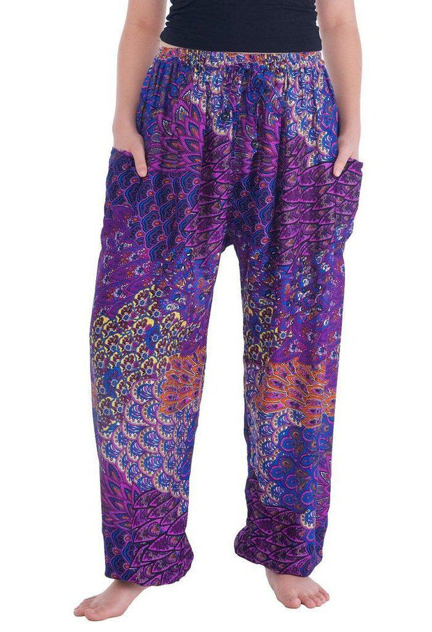 Colorful Harem Pants with Drawstring-Drawstring-Lannaclothesdesign Shop-Small-Purple-Lannaclothesdesign Shop