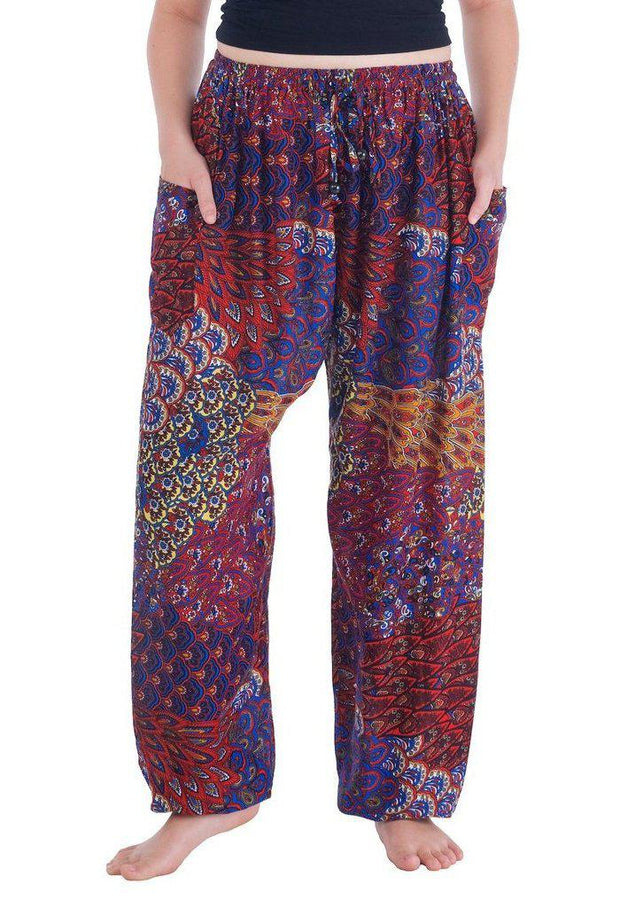 Colorful Harem Pants with Drawstring-Drawstring-Lannaclothesdesign Shop-Small-Red-Lannaclothesdesign Shop