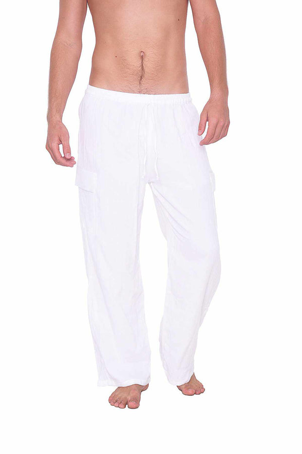 Comfy Baggy White Cotton Pants-Men Pants-Lannaclothesdesign Shop-Lannaclothesdesign Shop