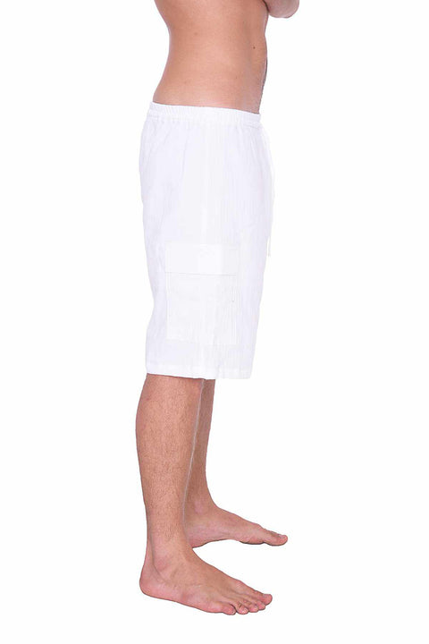 COMFY LOOSE WHITE COTTON SHORTS-Men Shorts-Lannaclothesdesign Shop-Lannaclothesdesign Shop