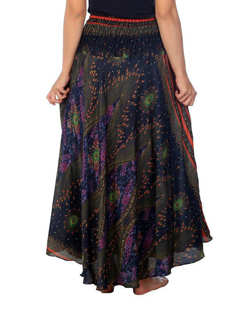 Dark Blue Flower Eye Long Maxi Skirt-Rayon Skirt-Lannaclothesdesign Shop-Lannaclothesdesign Shop