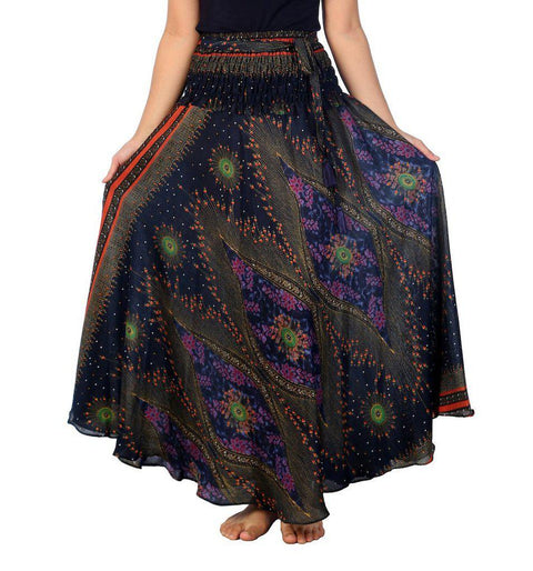 "Dark Blue Flower Eye Long Maxi Skirt-Rayon Skirt-Lannaclothesdesign Shop-Length 37"" S/M SIZE-Lannaclothesdesign Shop"