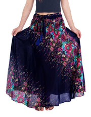 Dark Blue Flower Long Maxi Skirt-Rayon Skirt-Lannaclothesdesign Shop