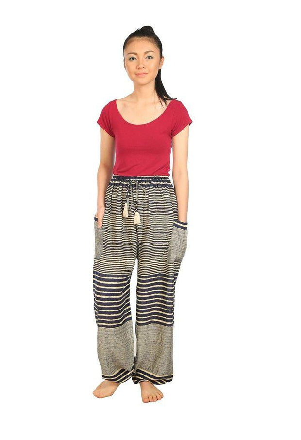 Drawstring Pants Striped Print-Drawstring-Lannaclothesdesign Shop-Small-Dark Blue-Lannaclothesdesign Shop