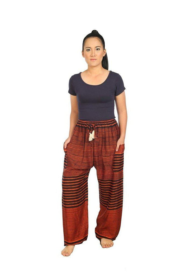 Drawstring Pants Striped Print-Drawstring-Lannaclothesdesign Shop-Small-Orange-Lannaclothesdesign Shop
