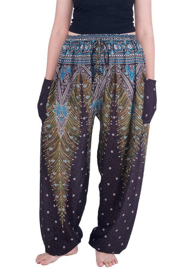Drawstring Peacock Harem Pants-Drawstring-Lannaclothesdesign Shop-Small-Brown-Lannaclothesdesign Shop