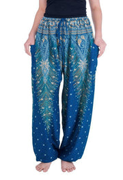 Drawstring Peacock Harem Pants-Drawstring-Lannaclothesdesign Shop-Small-Teal-Lannaclothesdesign Shop