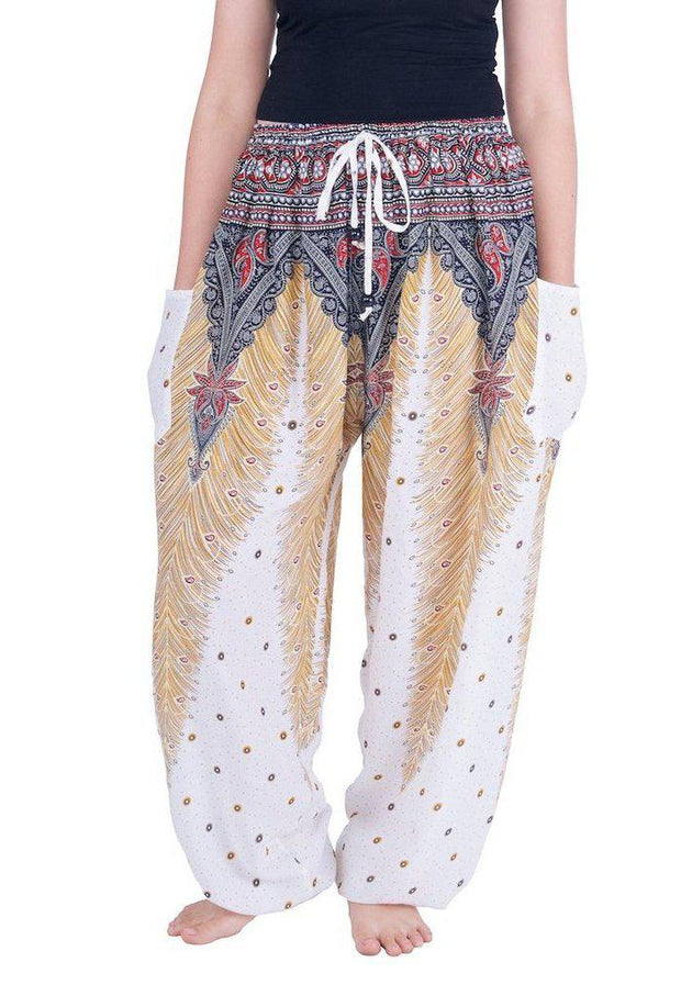 Drawstring Peacock Harem Pants-Drawstring-Lannaclothesdesign Shop-Small-White-Lannaclothesdesign Shop