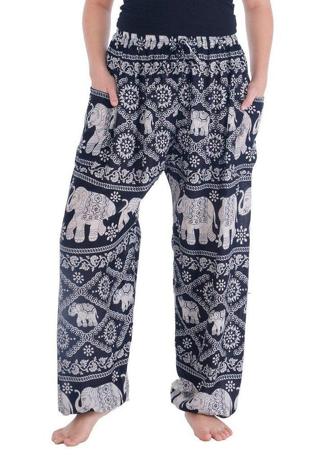 Elephant Harem Pants-Drawstring-Lannaclothesdesign Shop-Small-Black-Lannaclothesdesign Shop