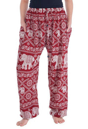Elephant Harem Pants-Drawstring-Lannaclothesdesign Shop-Small-Burgundy-Lannaclothesdesign Shop