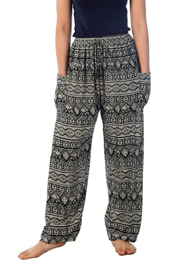 Elephant Harem Pants-Drawstring-Lannaclothesdesign Shop-Small-Grey-Lannaclothesdesign Shop