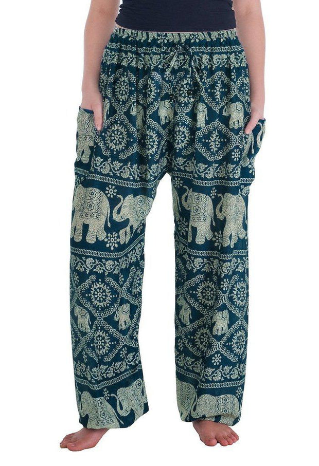 Elephant Harem Pants-Drawstring-Lannaclothesdesign Shop-Small-Teal-Lannaclothesdesign Shop