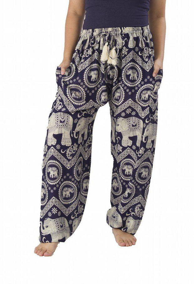 Elephant Harem Pants with Drawstring-Drawstring-Lannaclothesdesign Shop-Small-Dark Blue-Lannaclothesdesign Shop