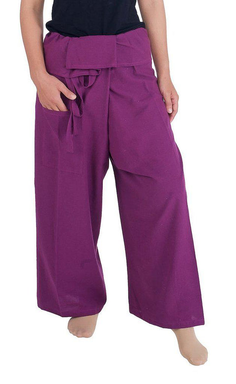 Fisherman Pants Cotton Fabric-Fisherman-Lannaclothesdesign Shop-Large-X-Large-Dark Purple-Lannaclothesdesign Shop