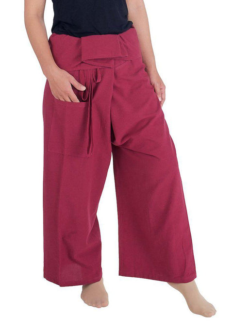 Fisherman Pants Cotton Fabric-Fisherman-Lannaclothesdesign Shop-Small-Medium-Burgundy-Lannaclothesdesign Shop