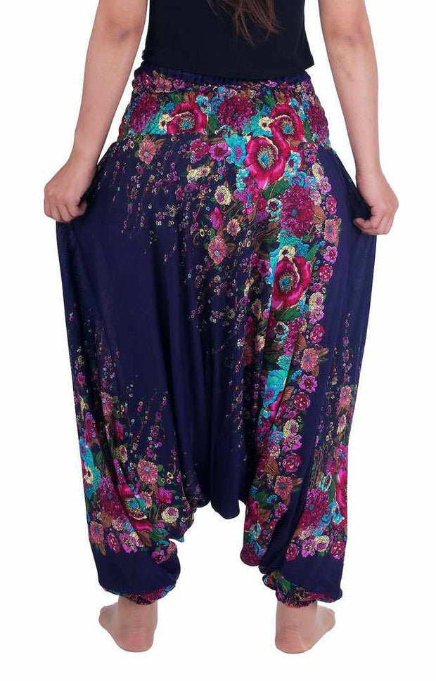 Floral Harem Pants-Harem Jumpsuit-Lannaclothesdesign Shop