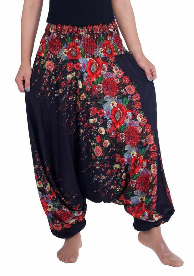 Floral Harem Pants-Harem Jumpsuit-Lannaclothesdesign Shop-Small-Medium-Black-Lannaclothesdesign Shop