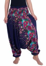 Floral Harem Pants-Harem Jumpsuit-Lannaclothesdesign Shop-Small-Medium-Dark Blue-Lannaclothesdesign Shop